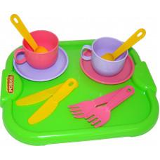 Набор детской посуды ПОЛЕСЬЕ МИНУТКА с подносом на 2 пер. 9516 31*23*8см