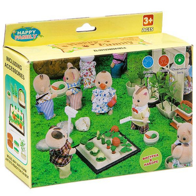 Игр. набор Happy Family с фигуркой зверюшки, огород,Д93687