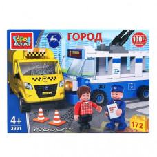 """Конструктор """"Город мастеров"""" авария: троллейбус + такси, с фигурками, 172дет. 3331-KK"""