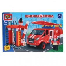 """ГАЗ конструктор """"Город мастеров"""" пожарная база с газелью, 135дет. 3533-KK"""